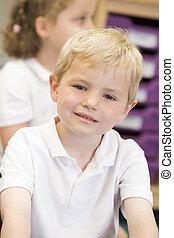 écolier, primaire, classe, séance