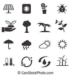 écologie, énergie, ensemble, puissance, icônes