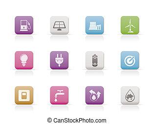 écologie, énergie, puissance, icônes