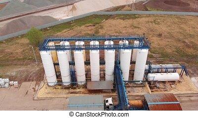 écologie, aérien, recyclage, traitement eau, vue., wastewater, usine eaux égout