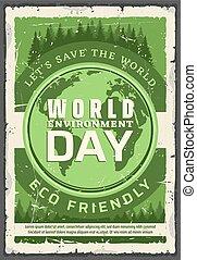 écologie, affiche, environnement, jour, vecteur, retro, mondiale