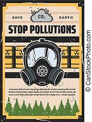 écologie, arrêt, pollution, environnement, contamination