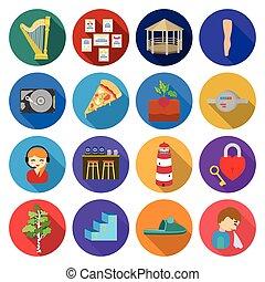 écologie, autre, voyage, restauration, icône, toile, ensemble, récréation, collection., tourisme, business, icônes, plat, style.