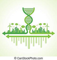écologie, concept, brin adn