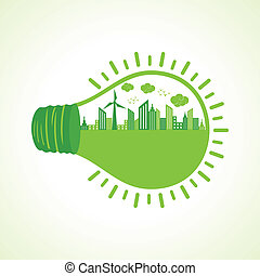 écologie, concept, bulb-vector, il