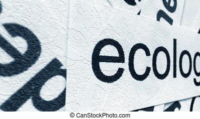 écologie, concept, grunge, étiquette