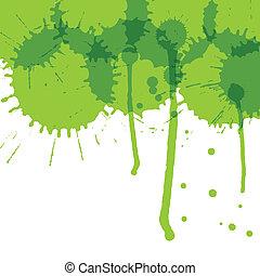 écologie, concept, vecteur, vert, eclabousse, fond, encre, ...