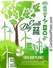 écologie, conception, la terre, bannière, jour, célébration