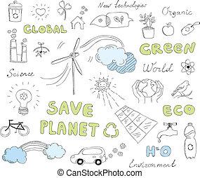 écologie, doodles, vecteur, éléments, ensemble
