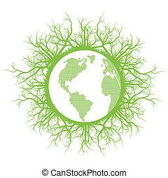 écologie, eco, planète, vecteur, terre verte, amical, racines