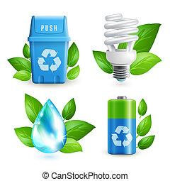 écologie, et, gaspillage, icône, ensemble