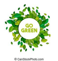écologie, feuilles, arbre, signe, concept, vert, aller