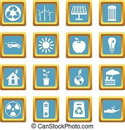 écologie, icônes, azur