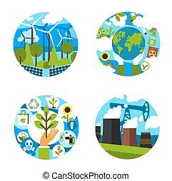 écologie, icônes, nature, environnement, vecteur, vert