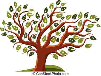 Texte, caractériser, mot, illustration, arbre.