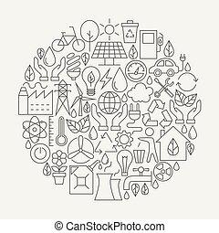 écologie, ligne, icônes, ensemble, cercle, forme
