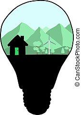 écologie, lignes, griffonnage, vecteur, ampoule, lumière, croquis, concept., main, turbine, dessiné, vent, isolé, blanc, arrière-plan., noir, paysage, illustration