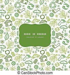 écologie, modèle, cadre, seamless, symboles, vecteur, fond