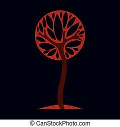 écologie, nature, vecteur, artistique, idée, image, theme., saison, automne, stylisé, symbole., arbre, conception, illustration, graphique, fantasme