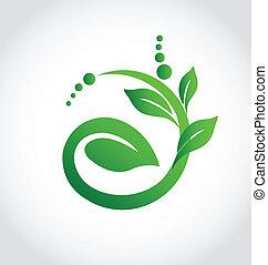 écologie, plante, icône, logo, sain