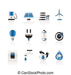 écologie, puissance énergie, icônes