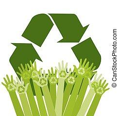écologie, résumé, recyclage, illustration, vecteur, mains humaines, conceptuel, signe.
