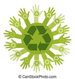 écologie, signe., recyclage, illustration, vecteur, mains, conceptuel