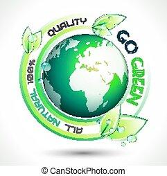 écologie, slogan, apparenté, arrière-plan vert, conceptuel