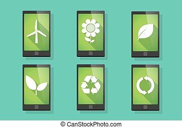 écologie, téléphone, ensemble, long, ombre