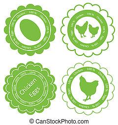 écologie, timbre, oeufs, étiquette, ferme, vecteur, arrière-plan vert, poulet