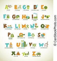 écologie, vert, alphabet, à, collection, de, vecteur, éléments