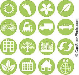 écologie, vert, icônes