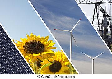 écologique, énergie, collage