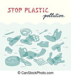 écologique, concept, catastrophe, déchets, sea.