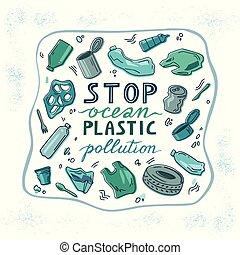 écologique, concept, garbage., catastrophe