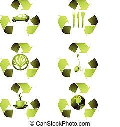 écologique, ensemble, icône