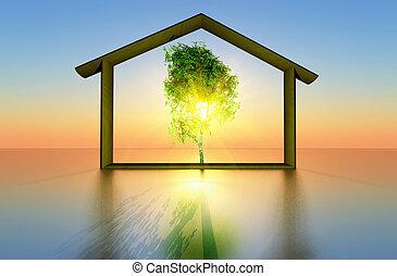 écologique, maison