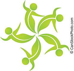 écologique, pousse feuilles, équipe, logo