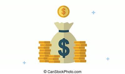 économie, animation, sac, dollars, argent