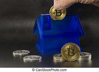 économie, bitcoins, achat, housse