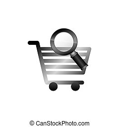 économie, chariot, icône
