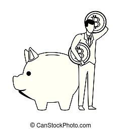 économie, cryptocurrency, noir, porcin, homme affaires, blanc