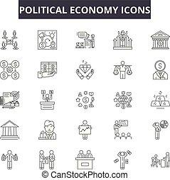 économie, depolitics, illustration:, ensemble, contour, concept, vector., pays, économie, national, ligne, politique, business, signes, icônes