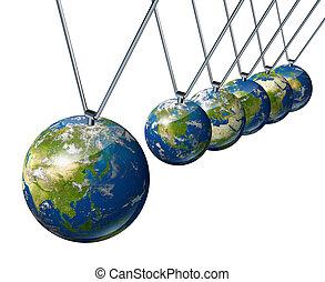 économie mondiale, pendule, à, asie