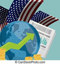 économie mondiale, usa, infograph
