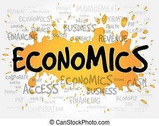 économie, mot, nuage