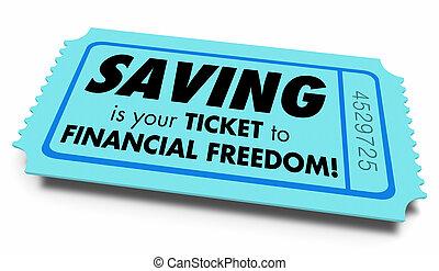 économie, richesse, liberté, illustration, argent, financier, billet, sauver, grandir, 3d