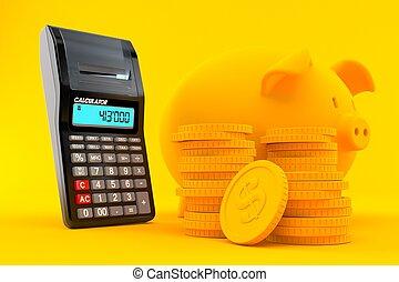 économies, calculatrice, fond