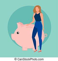 économies, femme, caractère, jeune, porcin