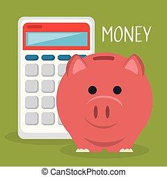 économies, porcin, calculatrice